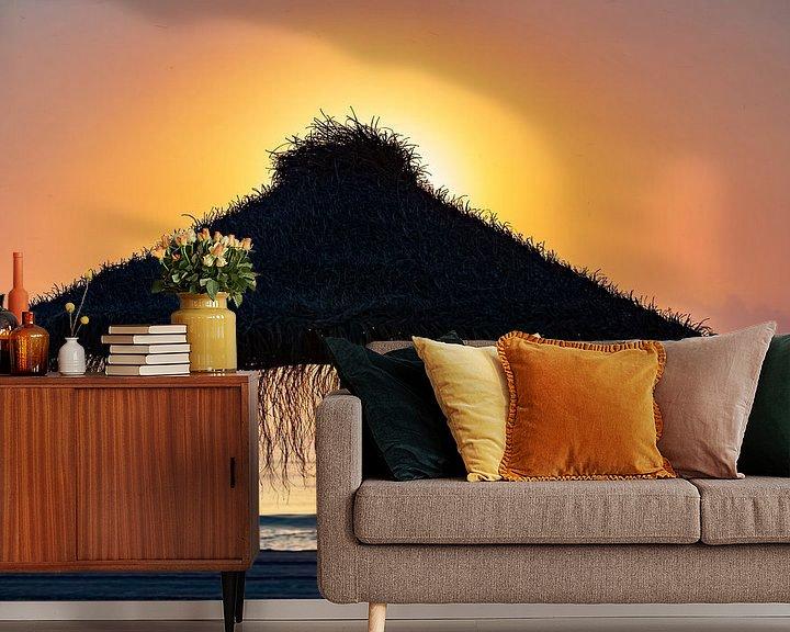 Impression: Parasol sur la plage au coucher du soleil sur Frank Herrmann