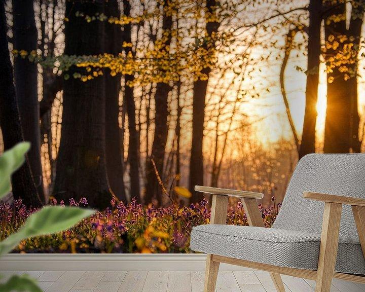 Sfeerimpressie behang: De zon ontwaakt in het bos van Jim De Sitter