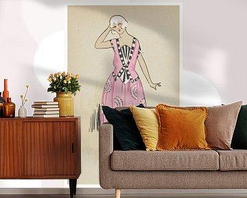 Manon | Roze, schattig Art Deco Mode Prent | Historische fashion | Retro design van NOONY