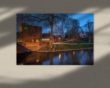 Avondfoto stadsgezicht Louis Hartloopercomplex en Bastion Manenborgh Utrecht van André Russcher