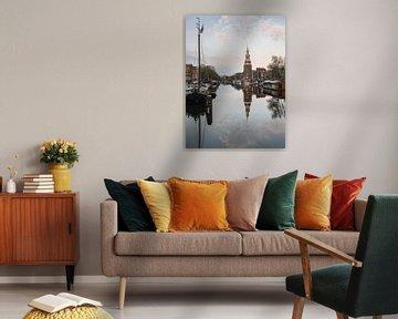 Montelbaanstoren, Gracht und alte Häuser in Amsterdam, die Niederlande. von Lorena Cirstea