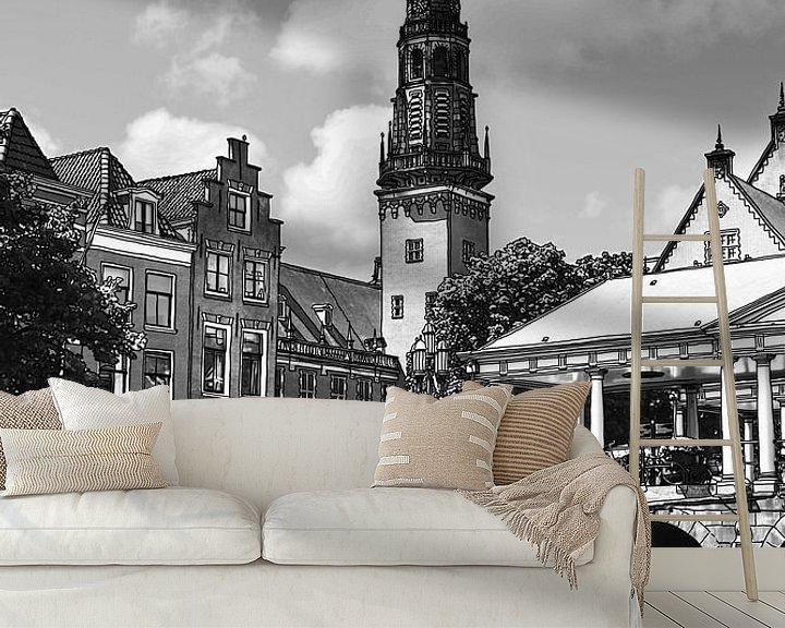 Sfeerimpressie behang: Pentekening Leiden Stadhuis en Kroonbrug Tekening Lijntekening van Hendrik-Jan Kornelis