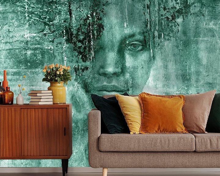Sfeerimpressie behang: Beauty and the Music: Adagio - Secret in Turquoise van Annette Schmucker