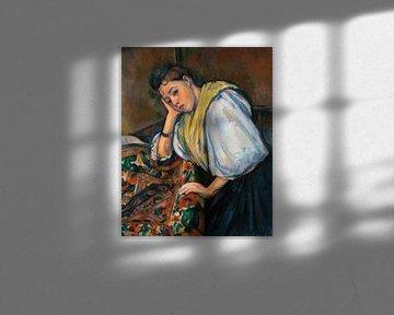 Junge Italienerin an einem Tisch, Paul Cézanne (ca. 1895-1900) von Atelier Liesjes