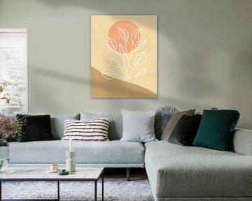 Minimalistisch landschap met een bladplant in lichte kleuren van Tanja Udelhofen