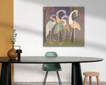 Lentefeest kraanvogels van Rudy & Gisela Schlechter