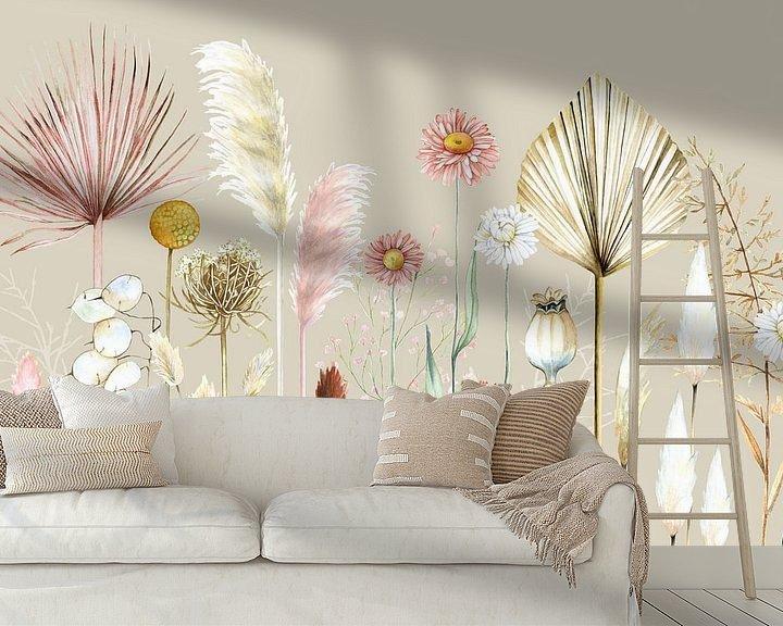 Beispiel fototapete: Getrocknete Blumen Pampasgräser von Geertje Burgers