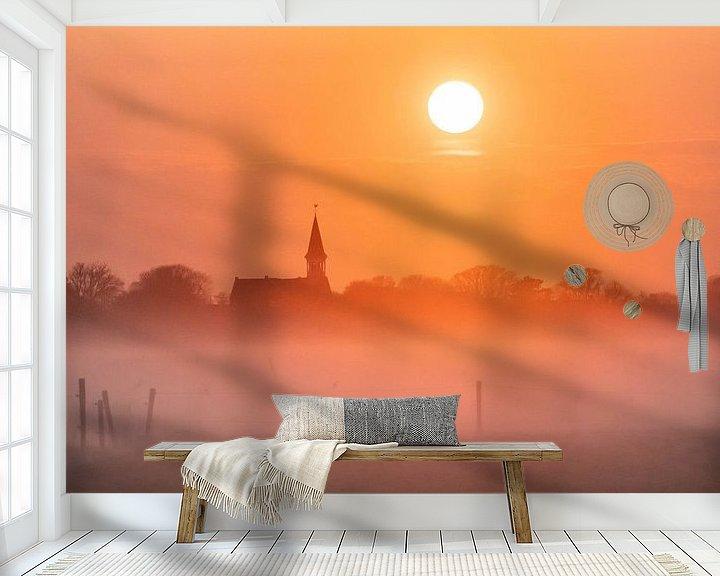 Sfeerimpressie behang: Mistige ochtend van Marjolein van Roosmalen