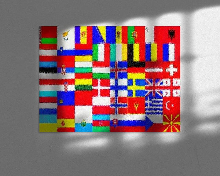 Sfeerimpressie: Europese vlaggen impressionistisch van Frans Blok