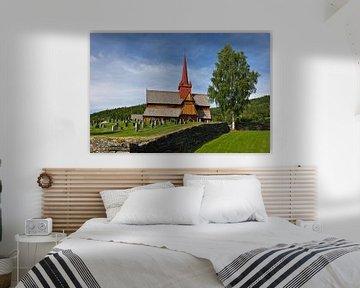 Staafkerk in Ringebu van Anja B. Schäfer