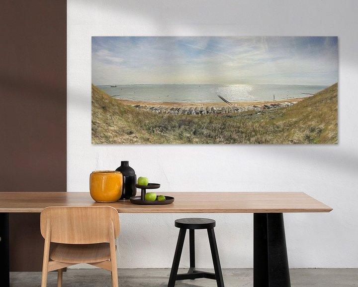 Sfeerimpressie: Strandhuisjes bij Dishoek vlakbij Vlissingen in Zeeland - Schilderij van Schildersatelier van der Ven
