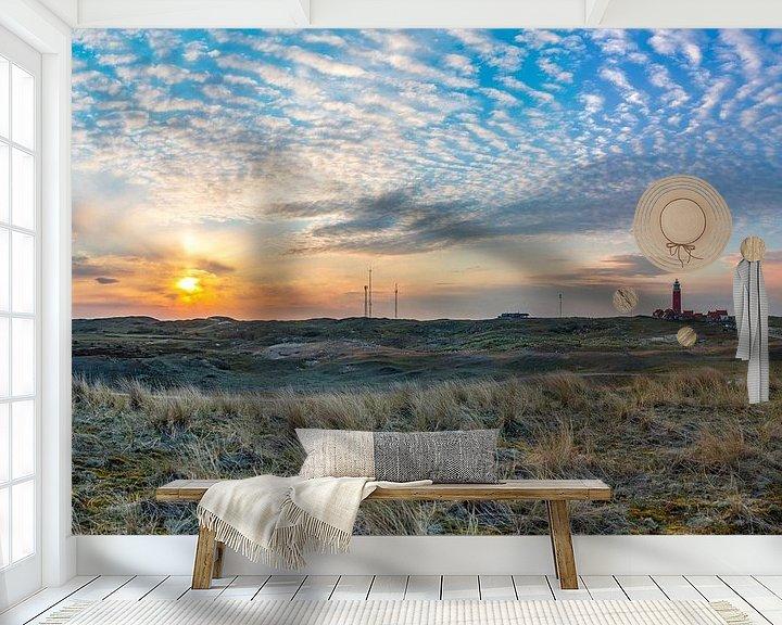 Sfeerimpressie behang: vuurtoren zonsondergang grote panorama van Texel360Fotografie Richard Heerschap