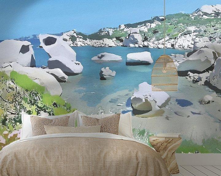 Impression: Sardaigne - Le Piscini di Porto Cuncatu - Figuratif naturel - Costa Smeralda - Peinture sur Schildersatelier van der Ven