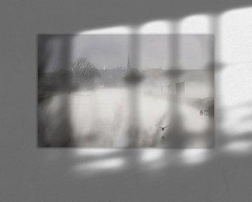 Niederländische Landschaft an einem frühen nebligen Morgen von Chihong