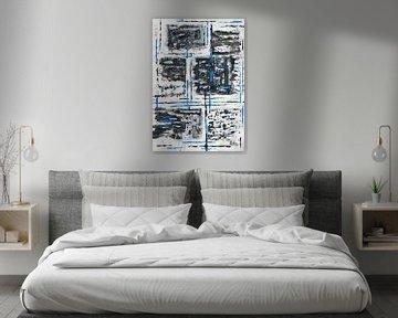 Blaues Gittergerüst auf schwarz-weißen Quadraten von elha-Art