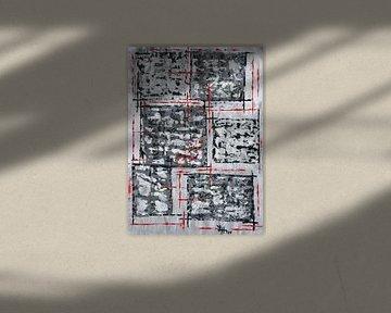 Rotes Gittergerüst auf schwarz-weißen Quadraten von elha-Art