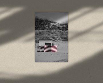 Eine Strandhütte mit Dünen im Hintergrund von Rik Verslype
