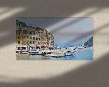 Boote in Portofino - Italien - Italienische Riviera - Gemälde von Schildersatelier van der Ven