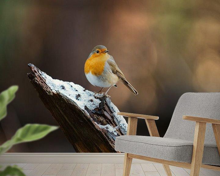 Impression: Robin à la pose imposante sur un tronc d'arbre sur Maarten Oerlemans