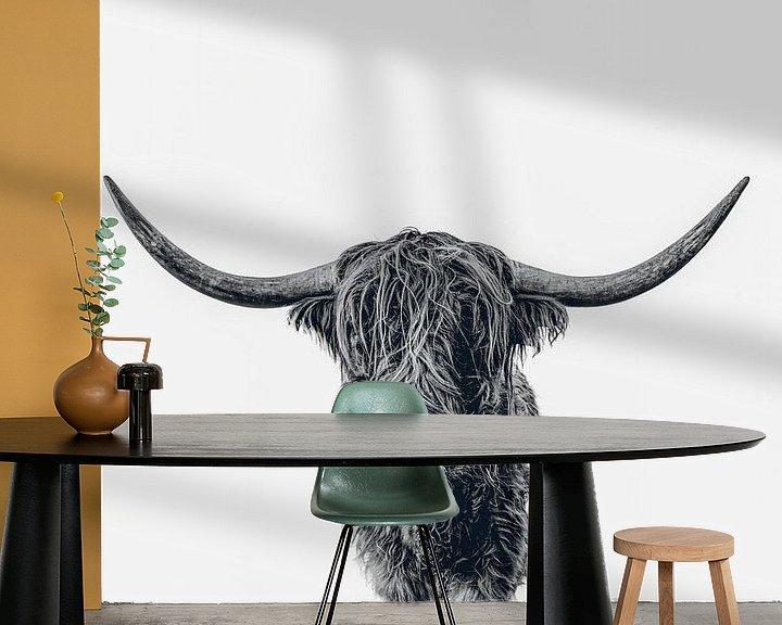 Beispiel fototapete: Scottish Highland cattle b&w von Monodio Photography