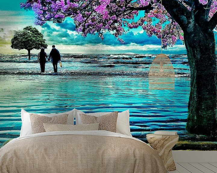 Beispiel fototapete: Bäume am Meer (Japanische Kirsche) von Ruben van Gogh