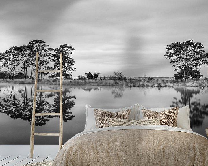 Sfeerimpressie behang: Nationaalpark Dwingelderveld in Zwart Wit van Marga Vroom
