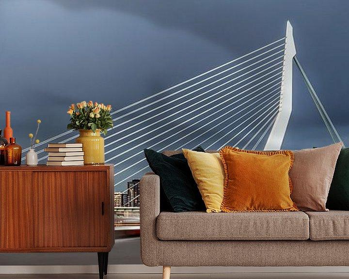 Sfeerimpressie behang: Mooie, indrukwekkende skyline Rotterdam van Miranda van Hulst