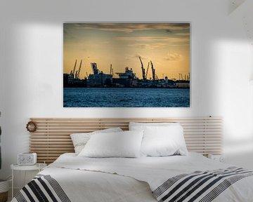 Skyline uitzicht over het industriegebied van Rotterdam van Photography by Naomi.K