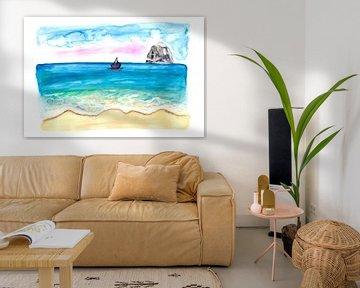 Martinique Karibik Strand Szene mit Diamond Rock von Markus Bleichner