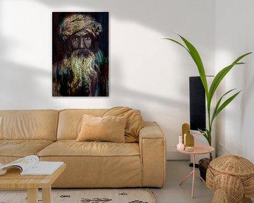 La fierté d'un turban. | Portrait d'un vieil homme. Visage avec une longue barbe. sur The Art Kroep