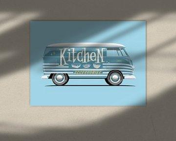 Vintage bus Kitchen reclame lettering van Ruben Ooms