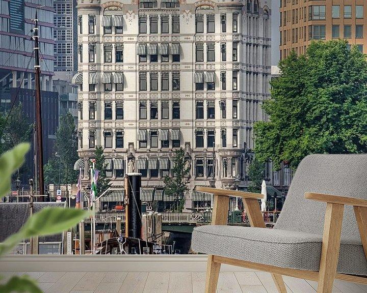 Sfeerimpressie behang: Rotterdam, het Haringvliet en het Witte huis van Frans Blok
