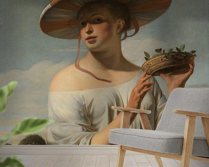 Beispiel fototapete: Mädchen mit breitem Hut von Eigenwijze Fotografie