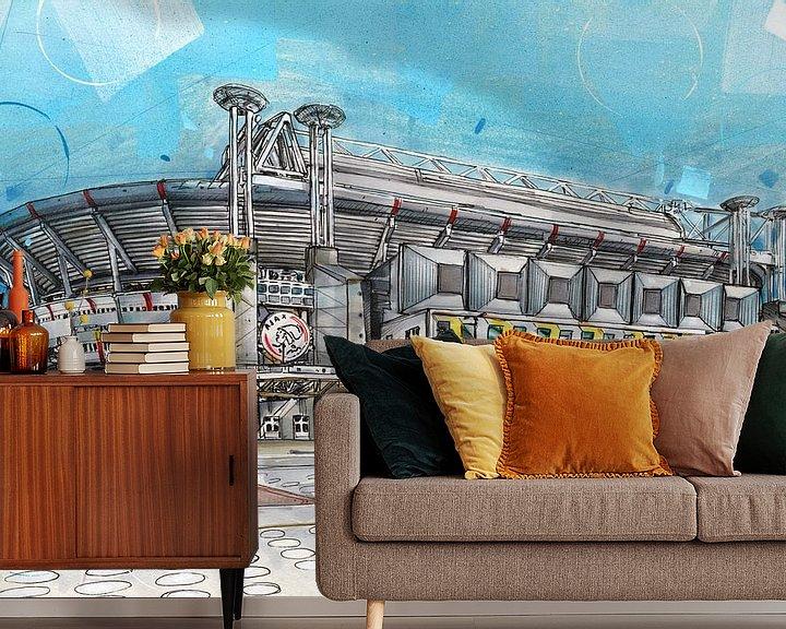 Sfeerimpressie behang: Ajax 'Johan Cruijff ArenA' schilderij van Jos Hoppenbrouwers