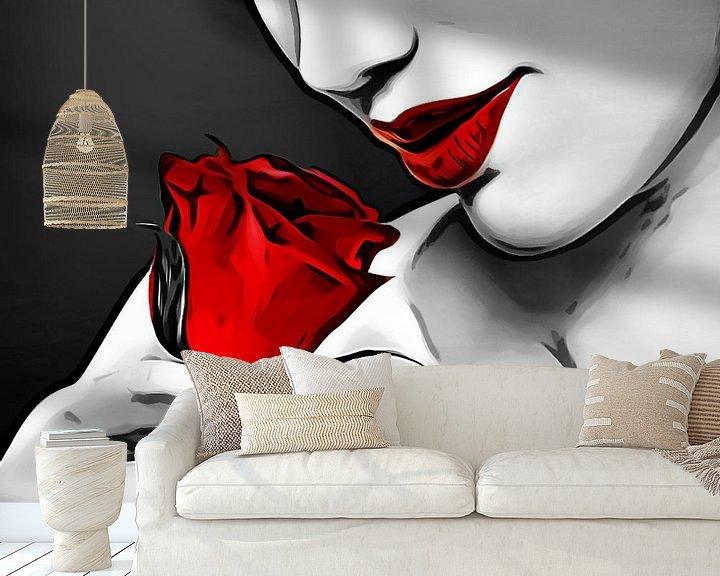Sfeerimpressie behang: Rode Roos van Arjen Roos