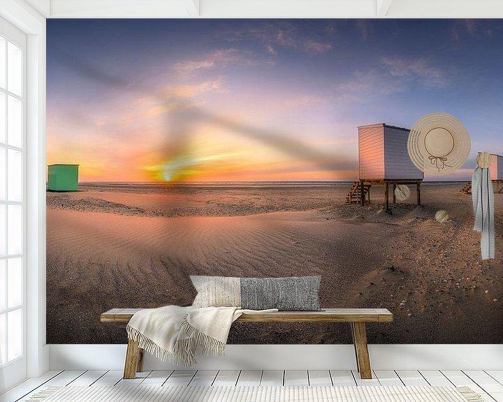 Sfeerimpressie behang: Strandhuisjes panorama van Thom Brouwer