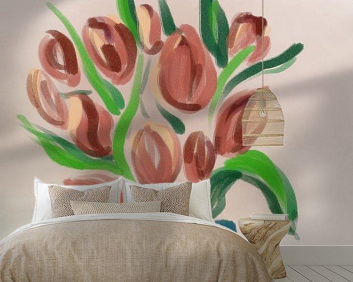 Sfeerimpressie behang: Tulpen van MishMash van Heukelom