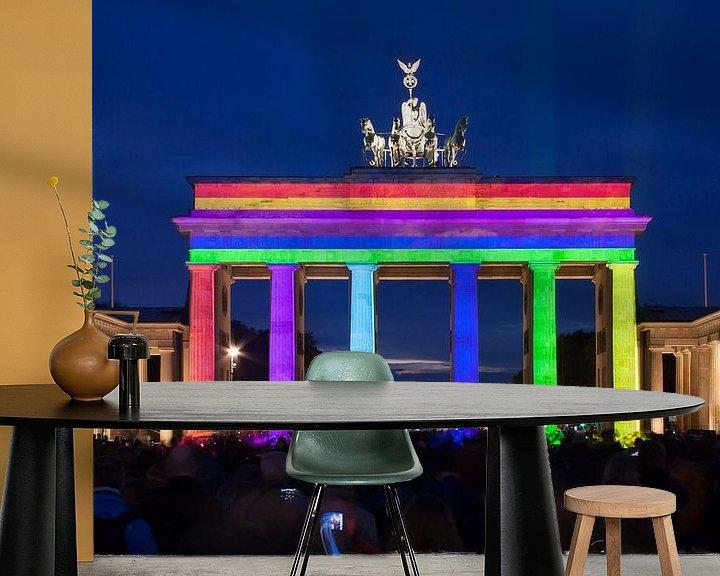 Sfeerimpressie behang: Brandenburger Tor Berlijn in speciale verlichting van Frank Herrmann