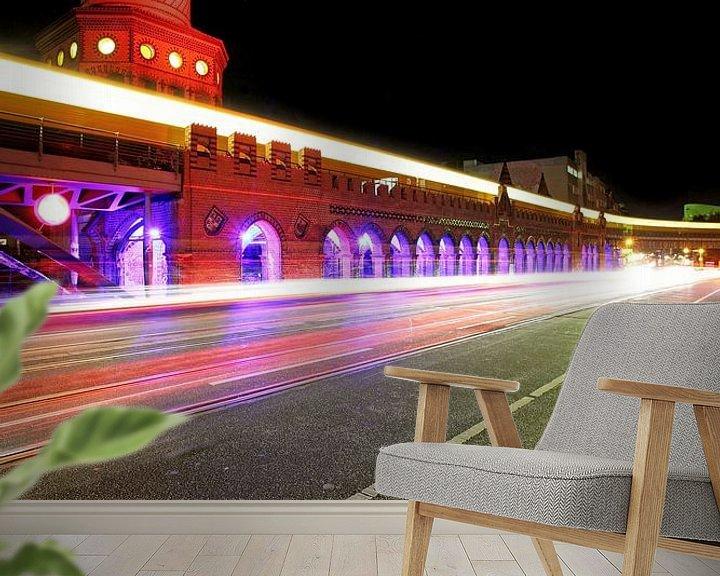 Sfeerimpressie behang: Oberbaumbrücke bij nacht van Frank Herrmann