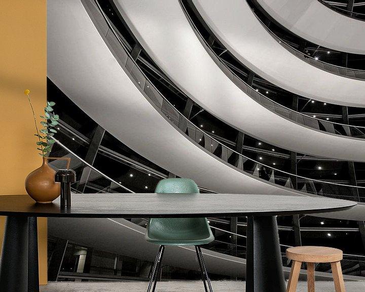 Sfeerimpressie behang: s Nachts in de Berlijnse Reichstag koepel van Frank Herrmann