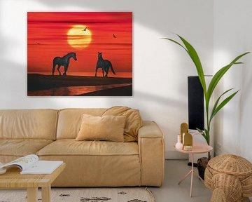 Twee paarden en een zonsondergang van Jan Keteleer