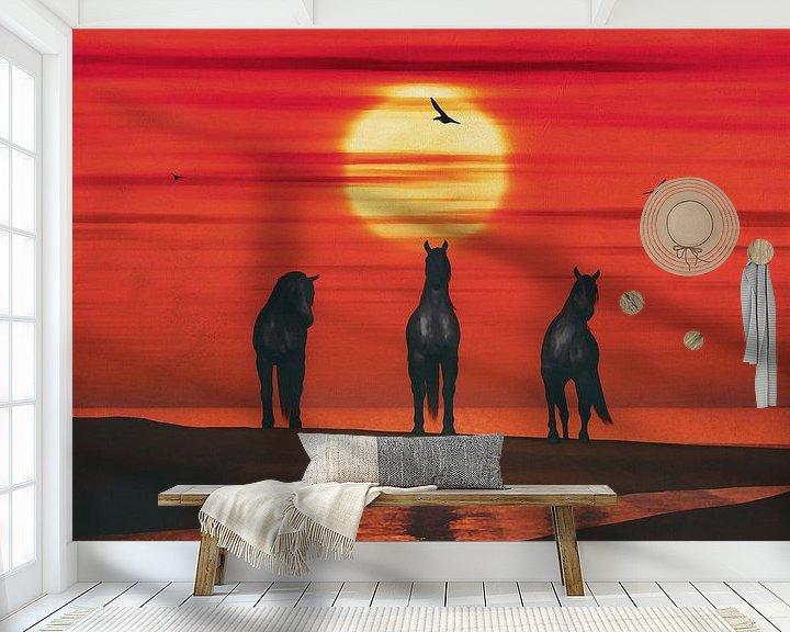 Sfeerimpressie behang: Drie paarden op het strand van Jan Keteleer