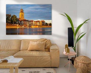 Ligne d'horizon de Deventer dans la lumière dorée