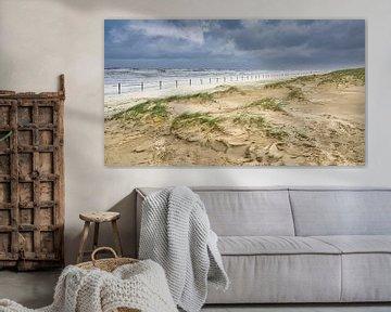 Het duin met het strand en de Noordzee tijdens een storm van eric van der eijk