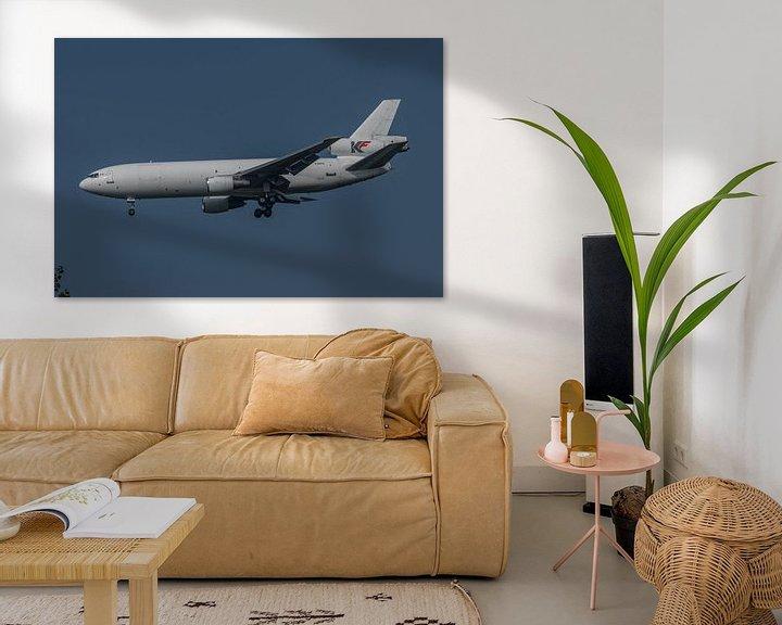 Sfeerimpressie: McDonnell Douglas DC-10, met registratie C-GKFD van het Canadese KF Cargo in de landing op de luchth van Jaap van den Berg