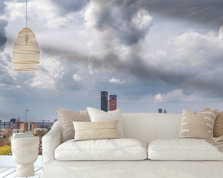 Sfeerimpressie behang: Tilburg skyline - staand van Henri Boer Fotografie