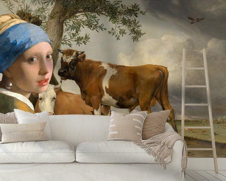 Beispiel fototapete: Mädchen mit dem Perlenohrring & der Stier von Eigenwijze Fotografie