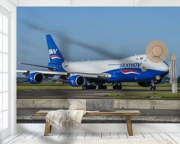 Fraaie Boeing 747-8 Cargo van Azerbaijan Cargo Silkway onderweg naar de Polderbaan voor de terugreis van Jaap van den Berg