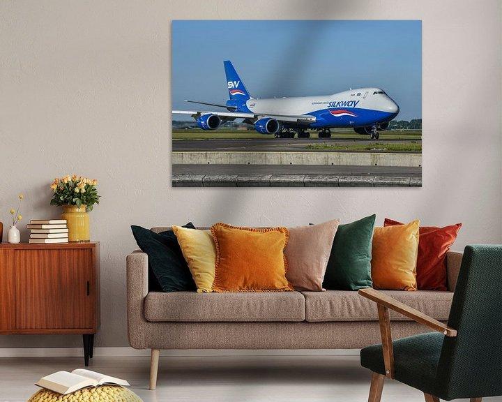 Sfeerimpressie: Fraaie Boeing 747-8 Cargo van Azerbaijan Cargo Silkway onderweg naar de Polderbaan voor de terugreis van Jaap van den Berg