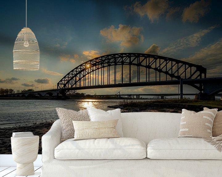 Beispiel fototapete: Sonnenuntergang an der IJsselbrücke Zwolle von Jan Willem Oldenbeuving